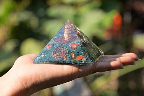 Blood Stone Orgone Pyramid with Crystal Point & Flower of Life Symbol Size: 2.5-3 Inch