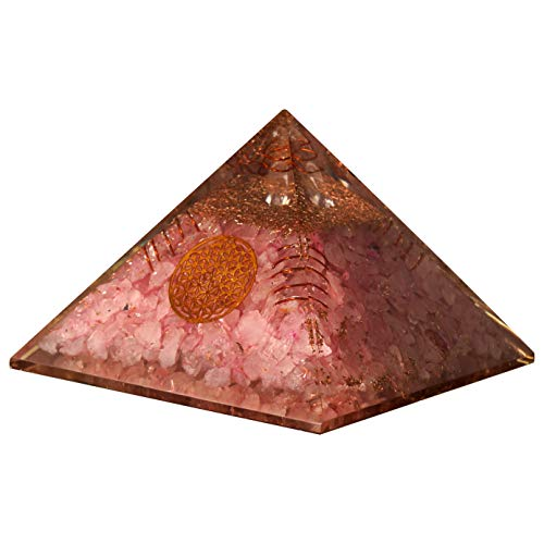 Rose Quartz Gemstone Orgone Pyramid with Flower of Life Symbol, Crystal Point & Copper Springs Size: 3-3.5 Inch