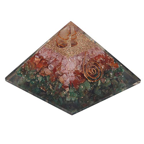 Green Aventurine, Carnelian & Rose Quartz Orgone Pyramid with Crystal Point for Chakra Meditation Decor Size 2.5-3 INCH