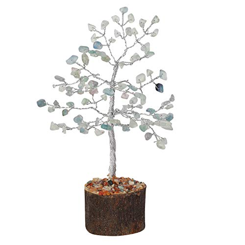 Fluorite Gemstone Feng Shui Bonsai Money Tree  Size 7-8 inch (Silver Wire)