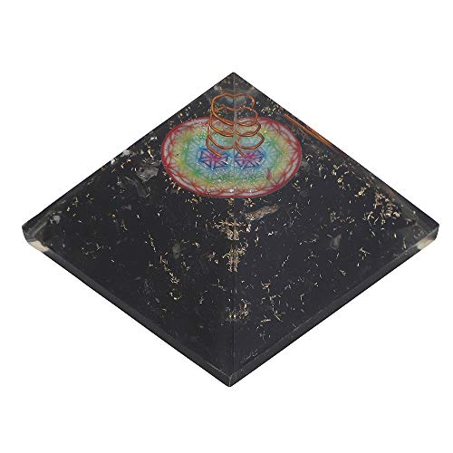 Black Tourmaline Orgone Pyramid | Flower of Life Symbol Size: 2.5-3 Inch