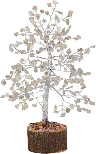Rainbow Moonstone Silver Wire Gemstone Feng Shui Bonsai Money Tree Size: 10 Inch