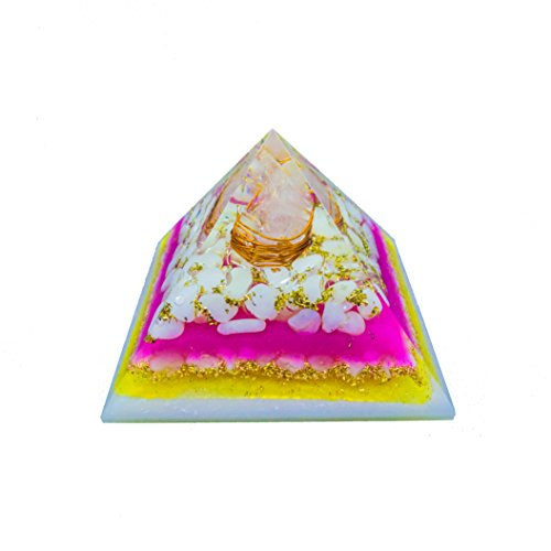 White Moonstone Gemstone Orgone Pyramid with Crystal Point Size: 3-3.5 Inch