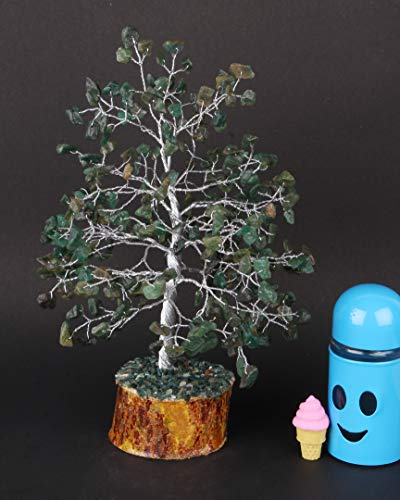 Green Jade Silver Wire Gemstone Feng Shui Bonsai Money Tree Size: 10 Inch