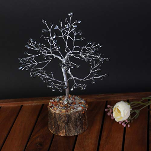 Hematite Gemstone Feng Shui Bonsai Money Tree Size 7-8 inch  (Silver Wire)