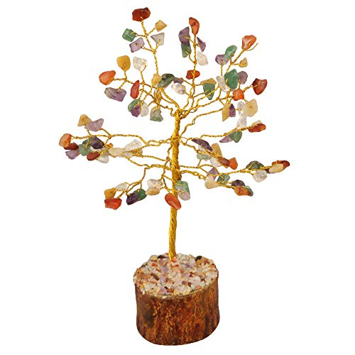 Mix Chakra Gemstone Feng Shui Bonsai Money Tree  Size: 7-8 Inch ( Golden Wire )