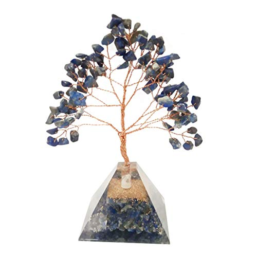 Lapis Lazuli Gemstone Money Tree Feng Shui Bonsai with Orgone Pyramid Base Size: 7-8 Inch