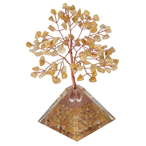 Yellow Aventurine Gemstone Money Feng Shui Tree Pyramid Base Size: 7-8 Inch