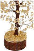Citrine Gemstone Money Tree Feng Shui Bonsai Size 10-12 Inch (Silver Wire)