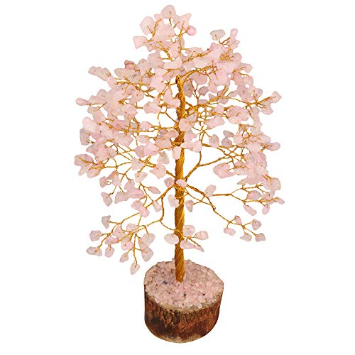 Rose Quartz Golden Wire Gemstone Feng Shui Bonsai Money Tree Size: 10-12 Inch