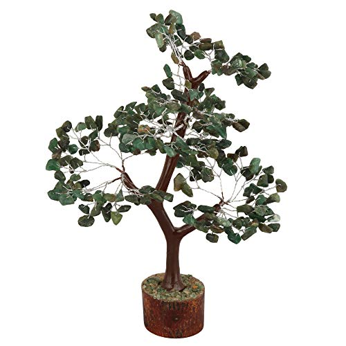Green Aventurine Gemstone Money Tree Feng Shui Bonsai Size 10-12 Inch (Silver Wire)