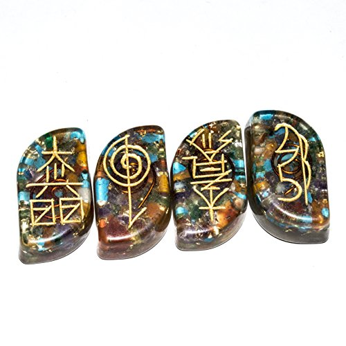 Mix Chakra Gemstone 4 Pcs Engraved Orgone Karuna Symbol Size: 20-25 mm