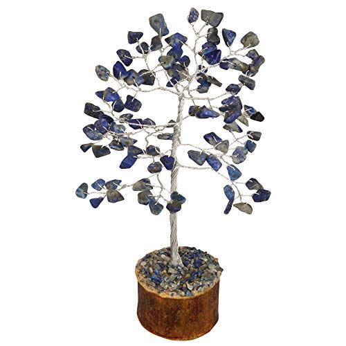 Lapis Lazuli Gemstone Feng Shui Bonsai Money Tree Size: 7-8 Inch (Silver Wire )