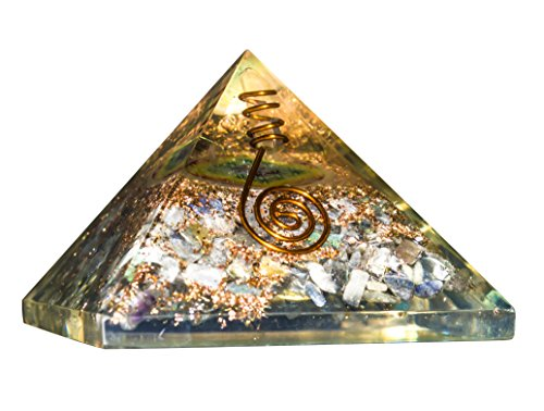 Labradorite Gemstone Orgone Pyramid | Crystal Point | Flower of Life Symbol Size: 2.5-3 Inch