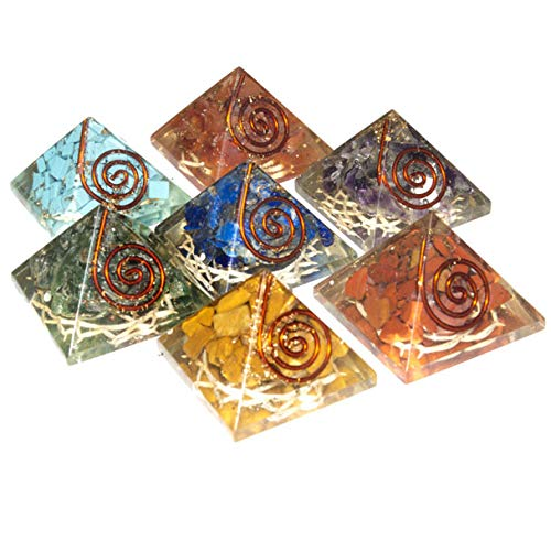 7 pcs Seven Chakra Gemstone Orgone Pyramid Set with Engraved Reiki Symbols Size: 1 Inch