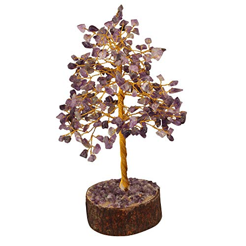 Amethyst Golden Wire Gemstone Money Tree Feng Shui Bonsai