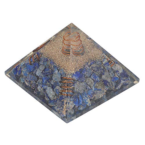 Lapis Lazuli Gemstone Orgone Pyramid with Crystal Point & Copper Springs Size: 2.5-3 Inch