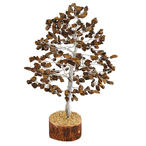 Tiger Eye Silver Wire Gemstone Feng Shui Bonsai Money Tree Size: 10 Inch
