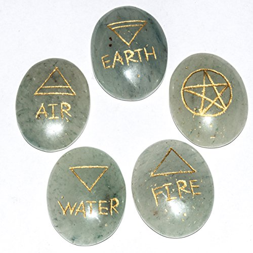 Green Jade Gemstone 5 Spiritual Element Tumble Engraved Symbol Stone Size: 30-35 mm