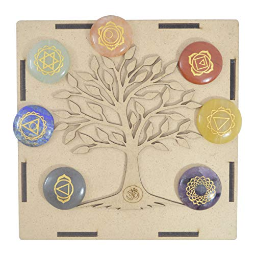 Seven Chakra Gemstone Engraved Round Shape Reiki Symbol Set with Tree of Life Wooden Box