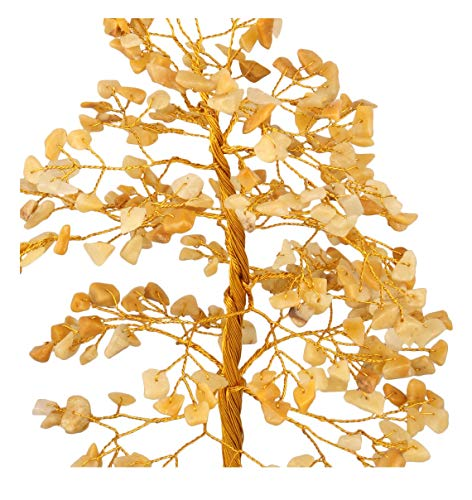 Yellow Aventurine Golden Wire Gemstone Money Feng Shui  Tree Size: 10 Inch