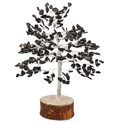 Black Tourmaline Silver Wire Gemstone Money Tree Feng Shui Bonsai