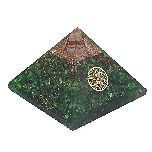 Green Onyx Stone Orgone Pyramid with Flower of Life Symbol Size: 3-3.5 Inch
