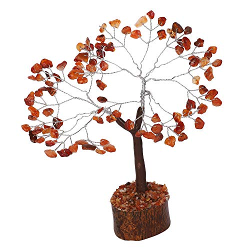 Carnelian M Seal Silver Wire Natural Gemstone Money Tree Size: 7-8
