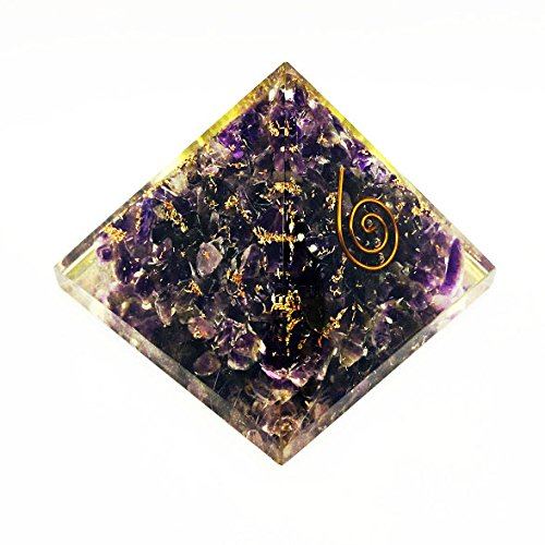 Amethyst Orgone Pyramid | Copper Ring Size: 2.5-3 Inch