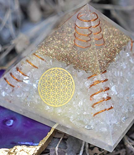 Clear Quartz Orgone Pyramid with 4 Copper Spring & Flower of Life Symbol Size: 2.5-3 Inch