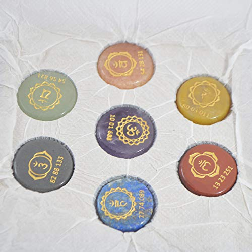 Seven Chakra Gemstone Engraved Round Shape Symbol & Number Stone Set with Wooden Box