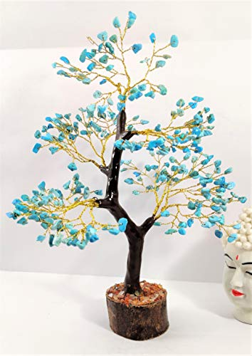 Turquoise Gemstone Money Tree Feng Shui Bonsai Size 10-12 Inch