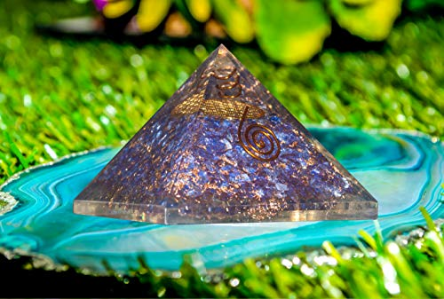 Blue Onyx Chakra Balancing Orgone Pyramid| Crystal Point Metal Flower of Life Symbol Size: 3-3.5 Inch