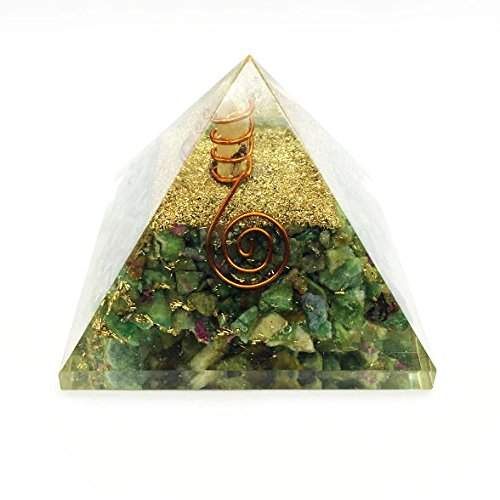 Ruby Zoisite Gemstone Orgone Pyramid with Crystal Point Size: 2.5-3 Inch