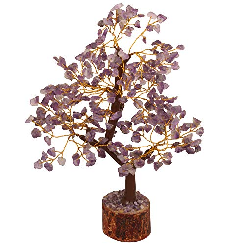 Amethyst Gemstone Money Tree Feng Shui Bonsai Money Tree Golden Wire Size 10-12""