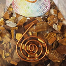 Tiger Eye Gemstone Orgone Pyramid with Flower of Life Symbol Size: 2.5-3 Inch