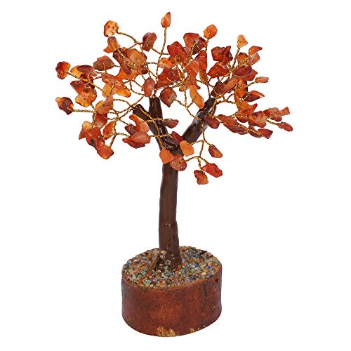 Carnelian M Seal Golden Wire Natural Gemstone Healing Money Tree Size: 6-7
