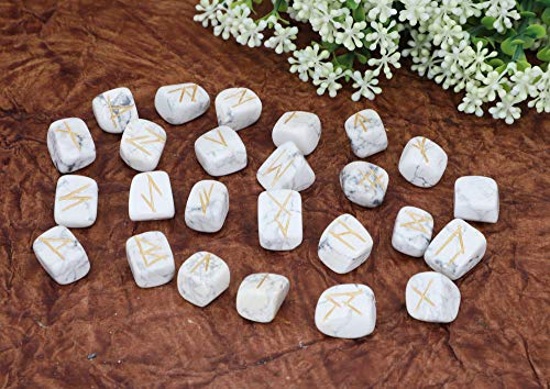 Howlite Gemstone Engraved Rune Stone Set with Elder Futhark Alphabets Size: 15-20 mm