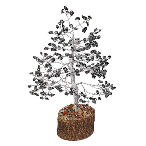 Hematite Silver Wire Gemstone Money Feng Shui Bonsai Tree Size: 10 Inch