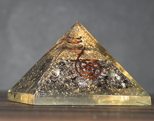 Black Tourmaline & Clear Quartz Orgone Pyramid | Crystal Point Size: 2.5-3 Inch