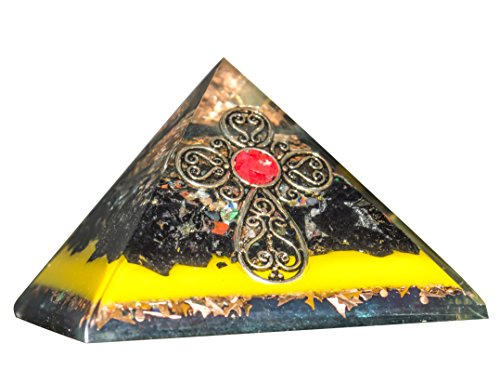 Crystal orgone Pyramid Gemstone Black Tourmaline & Mix Chakra