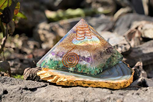 Green Aventurine Selenite Amethyst & Rose Quartz Orgone Pyramid with Flower of Life Symbol for Energy  Size: 3.5 Inch