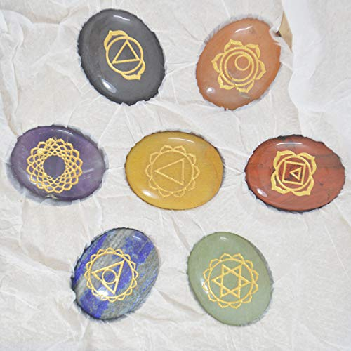Seven Chakra Gemstone Engraved Oval Shape Stone Set with Flower of Life Cut Wooden Box