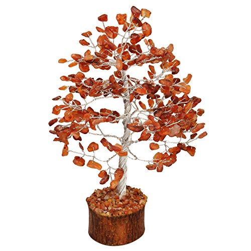 Carnelian Silver Wire Gemstone Money Tree Feng Shui Bonsai