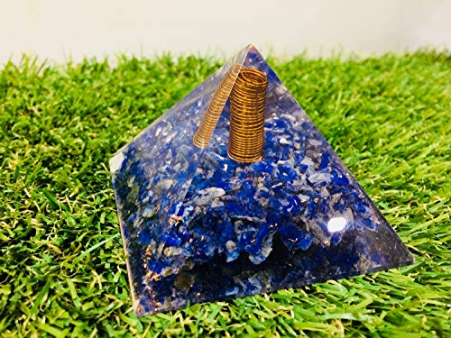 Lapis Lazuli Gemstone Orgone Pyramid with Copper Spring Size: 2.5-3 Inch