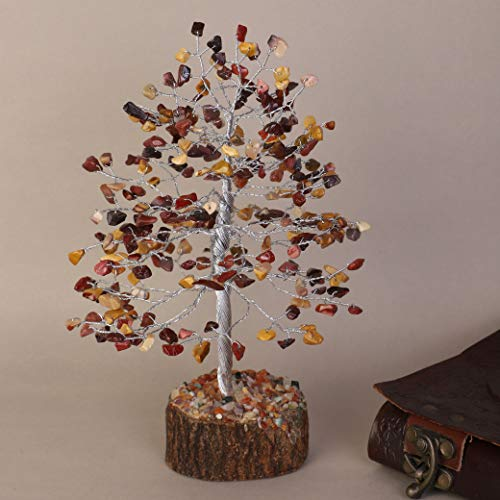 Mookaite Jasper Silver Wire Gemstone Feng Shui Bonsai Money Tree Size: 10 Inch