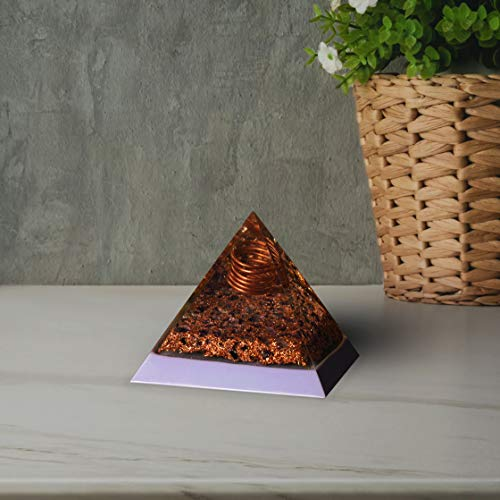 Amethyst Gemstone Orgone Pyramid with Copper Spring  Size: 2.5-3 Inch