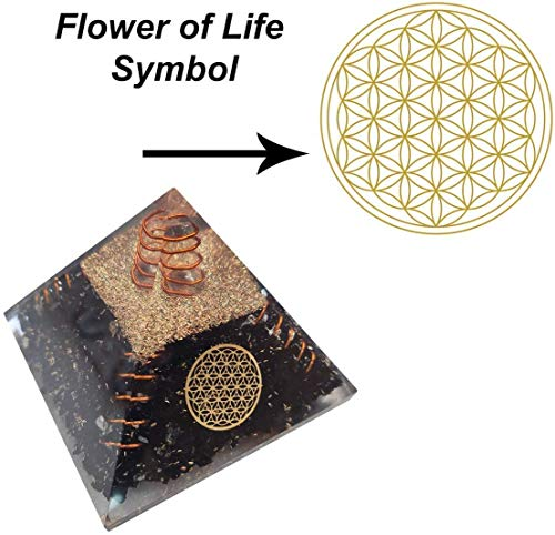 Black Tourmaline Orgone Pyramid with Flower of Life Symbol Size: 2.5-3 Inch