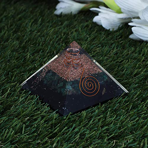 Black Tourmaline & Green Aventurine Gemstone Orgone Pyramid with Crystal Point  Size: 2.5-3 Inch