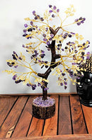 Citrine & Amethyst Gemstone Money Tree Feng Shui Bonsai Size 10-12 Inch (Golden Wire)